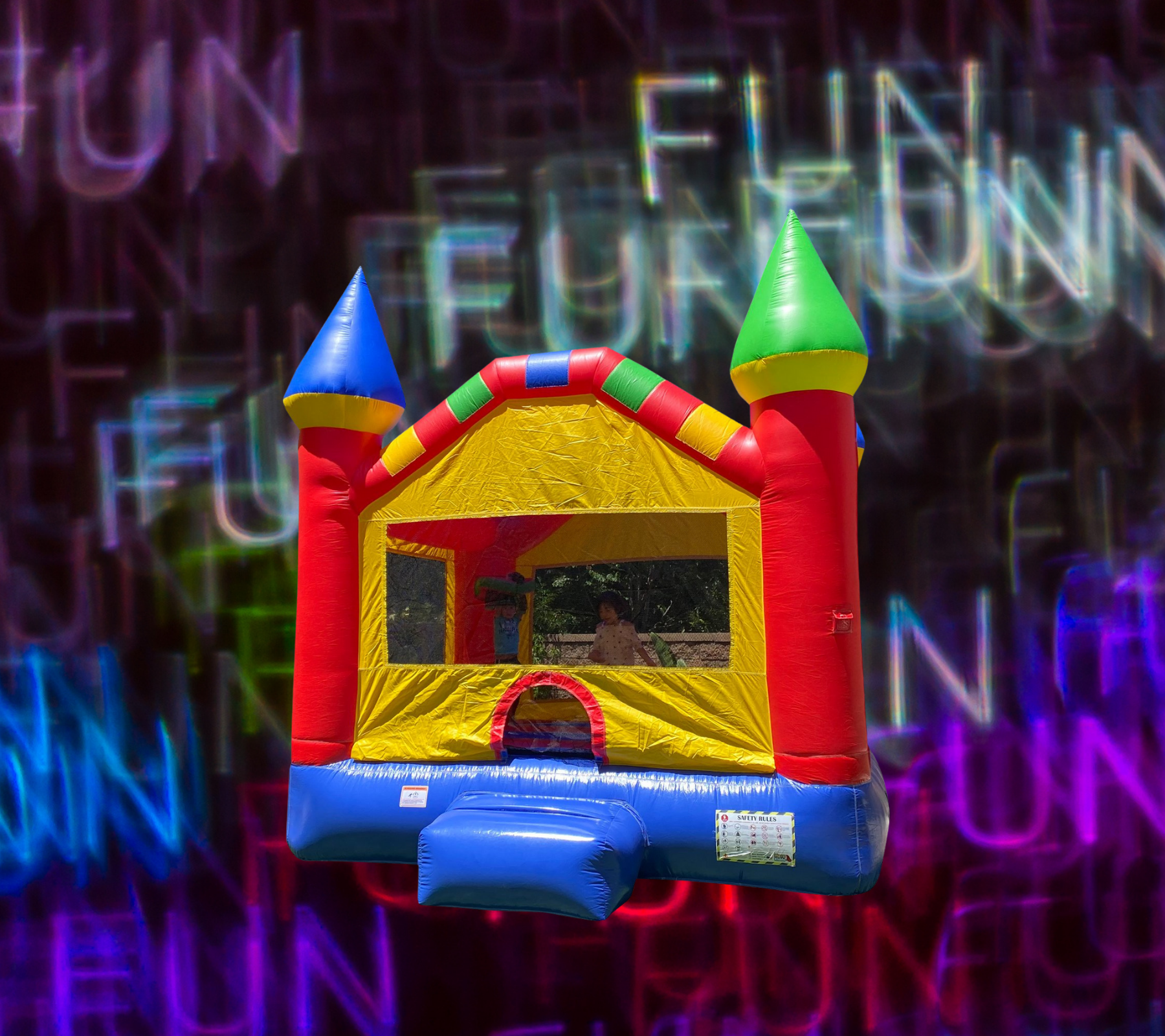 Colorful bounce house no words