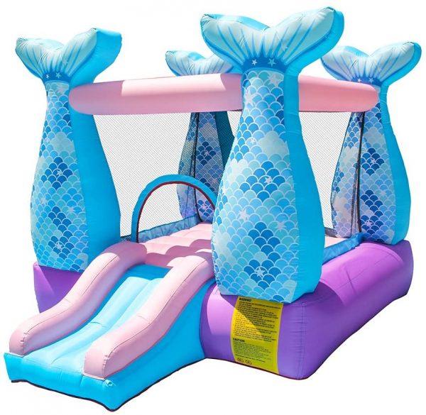 Tropical Princess Pink Blue and Purple Mermaid Bounce House